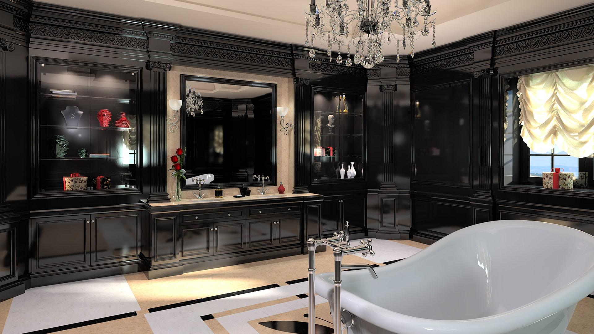 Arredo bagno padronale con mobili in stile classico in legno laccato nero