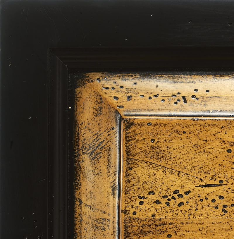 Legno laccato nero / paglia antiquariato '700