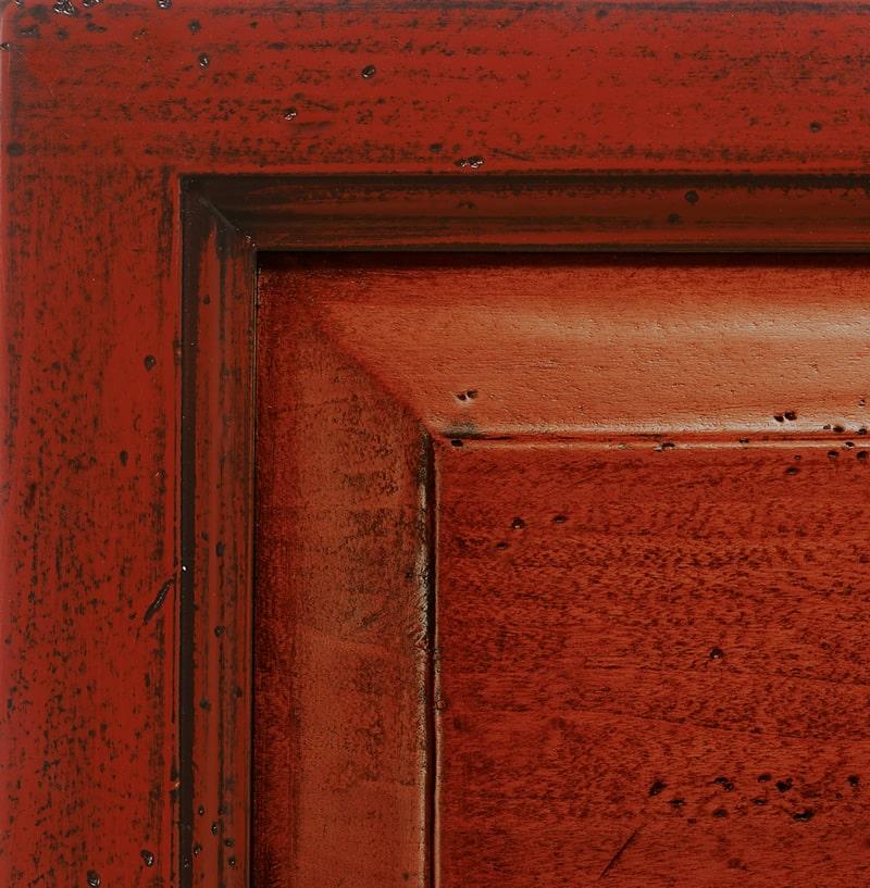 Laccato rosso fuoco spento antiquariato '700