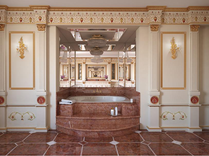 Sala da bagno con vasca idromassaggio e mobile in legno bianco decorato