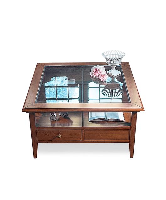 Tavolino piano in cristallo e 4 cassetti