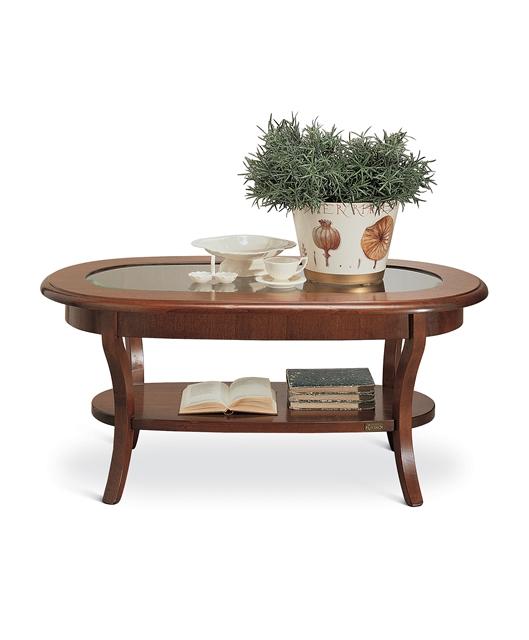Tavolino ovale con cristallo e ripiano
