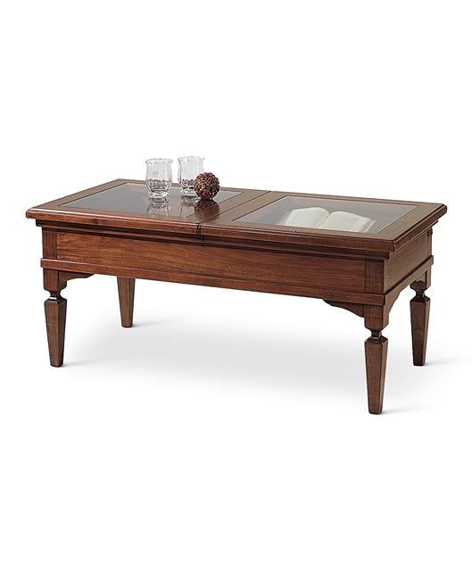 Tavolino bacheca piano in cristallo