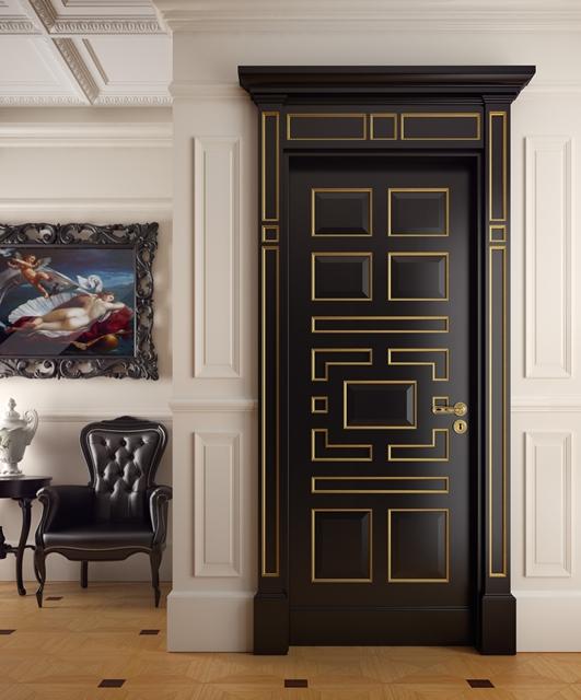 Porta laccata con cornici oro