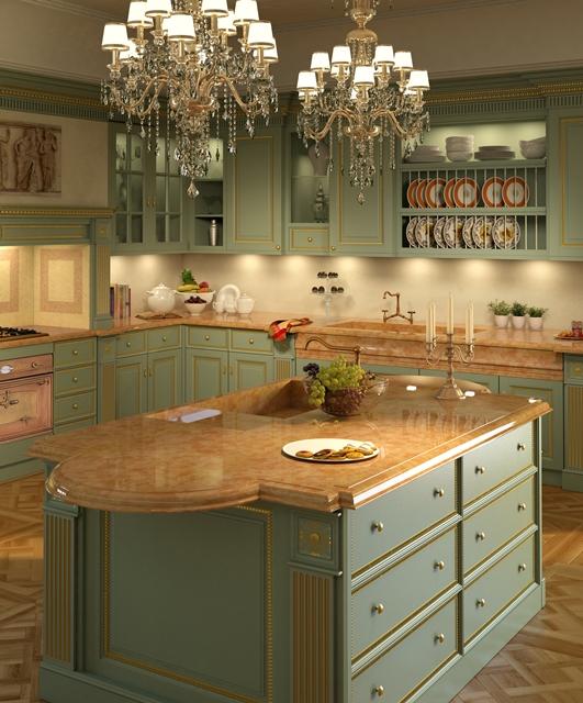 Cucina Regency, cornici in foglia oro