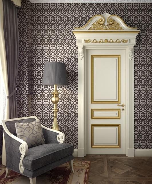 Porta laccata con cornici in foglia oro