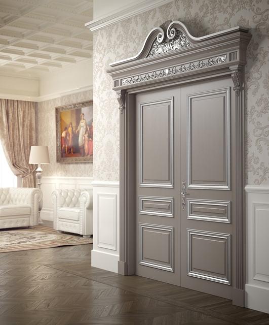 Porta laccata con cornici argento